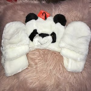 Other - NEW Panda hat with attached mittens